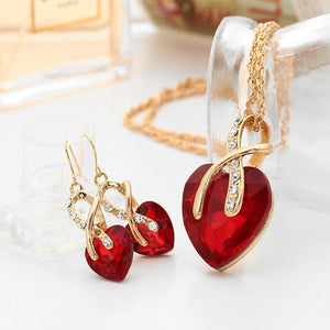 Europe and The United States Fashion Luxury Wedding Party Necklace Earrings Zircon Embellishment Charm Women Party Gift Fitting-geekbuyig
