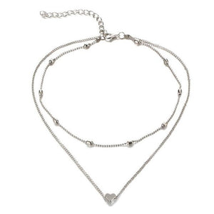 FASHION JEWELRY Love Heart Adjustable Necklace For Women Multilayer Chain Choker Necklace Summer Gift Drop shipping-geekbuyig