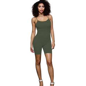 2018 Summer new Rompers women Jumpsuits Bodysuits Sleeveless Round neck black green Bodycon Skinny One piece Shorts Sexy Rompers-geekbuyig