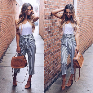2018 New style Female Regular Pants Blue Color Womens Striped Bottoms Feminino Casul Pants For Women Trousers-geekbuyig