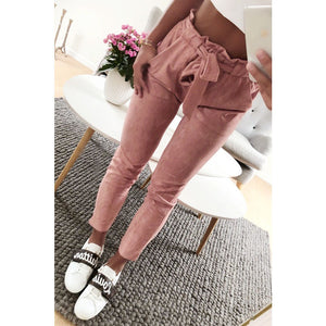 2018 New style fashion women suede velvet pants ladies casual long trouser mid waist bottoms-geekbuyig