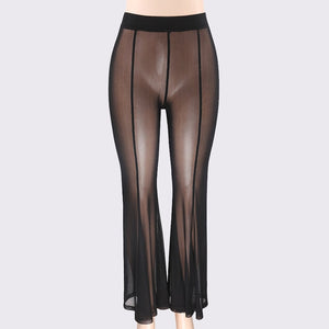 2018 New Fashion Summer Boho Women Mesh Transparent Perspective Wide Leg Pants ultra Thin Net Elastic Sexy See Through Trousers-geekbuyig