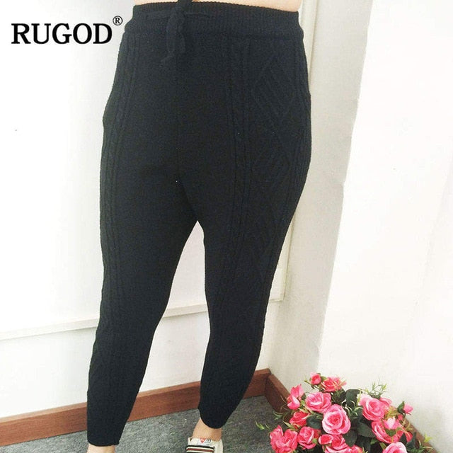 RUGOD 2018 Women Thicken Warm Elastic Waist Ankle-length Pants for Women Loose Cotton Trousers New Spring Winter knitted Pants-geekbuyig
