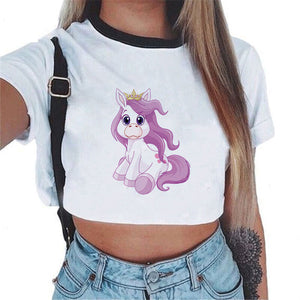 2018 harajuku funny Unicorn T shirt Women tops Kawaii Unicornio T-shirt Female Summer Crop Top Tshirt licorne Sexy Tees Cropped-geekbuyig