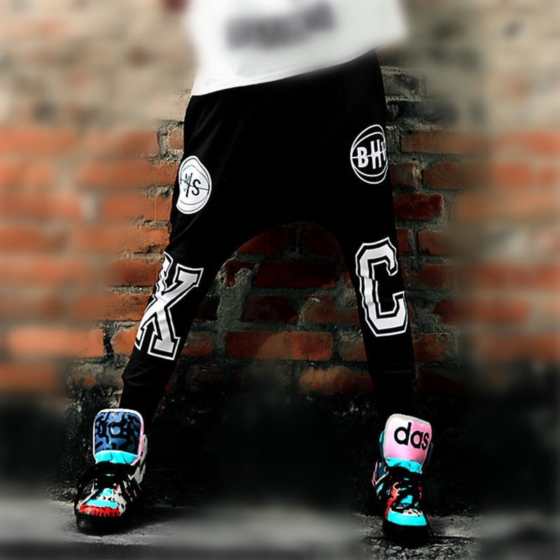 Just.be.never Hiphop Dance Harem Pants Winter Loose Letter Printing Casual Trousers Elastic Waist Hip Hop Black Xc Baggy Slacks-geekbuyig