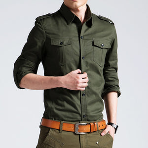 Mens Military Shirts 2018 Autumn Long Sleeve Casual Shirts Camisas Slim Solid Male Cotton Shirts Chemise Homme Plus Size 4XL 50-geekbuyig