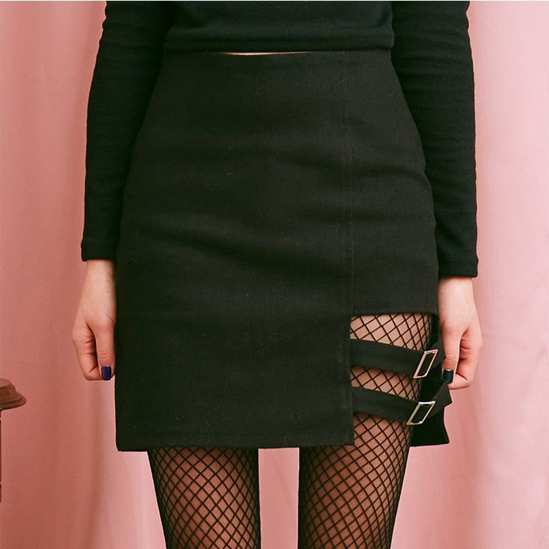 New Arrivals 2018 Summer Women Harajuku Right Leg Hollow Out Skirt Female Sexy Mini Skirt-geekbuyig