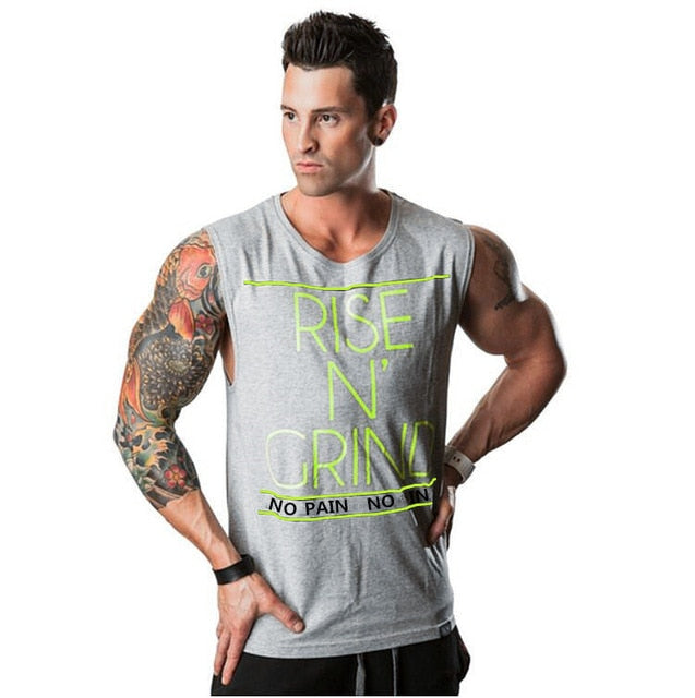 Gyms Clothing Fitness Singlets Men Bodybuilding Stringers Tank Tops Sleeveless Shirt Muscle Vest NO PAIN NO GAIN tanktops-geekbuyig