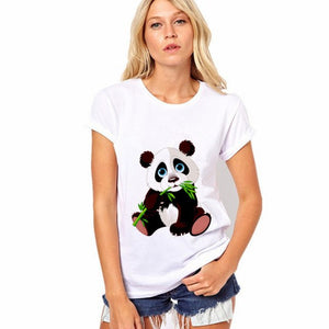 CDJLFH 2018 Summer Newest T Shirt Women White Tshirt Round Neck Short Sleeve Solid Harajuku Print Tops T-shirt-geekbuyig