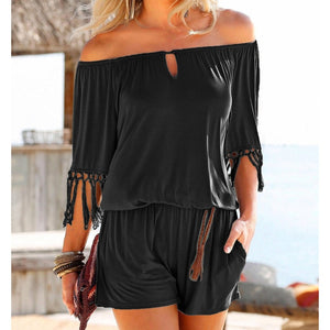 Casual Women Summer Playsuits Sexy Slash Neck Tassel Beach Jumpsuits Shorts Overalls Boho 2018 Girls Pockets Rompers XXL GV923-geekbuyig