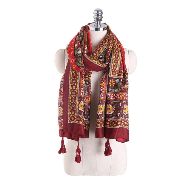 New Luxury Brand for Woman Print Scarf Russian Ethnic Style Cotton Flower Pattern Tassel Winter Warm Square Blanket Scarf Shawl-geekbuyig