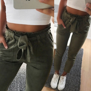 2018 fashion winter women suede pants style ladies Leather bottoms female trouser Casual pencil pants high waist trousers-geekbuyig