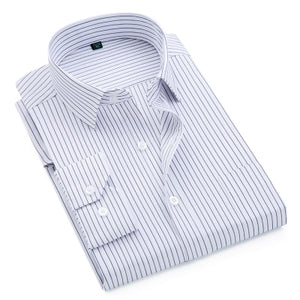 2018 Brand New Men Shirt Male Dress Shirts Striped Men's Fashion Casual Long Sleeve Business Formal Shirt Formal camisa social-geekbuyig