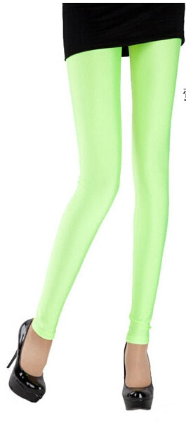 CoolCheer Brand Sexy Solid Candy Neon Plus Size Women's Leggings Stretched Jeggings Fitness Clothing Ballet Dancing Pant-geekbuyig
