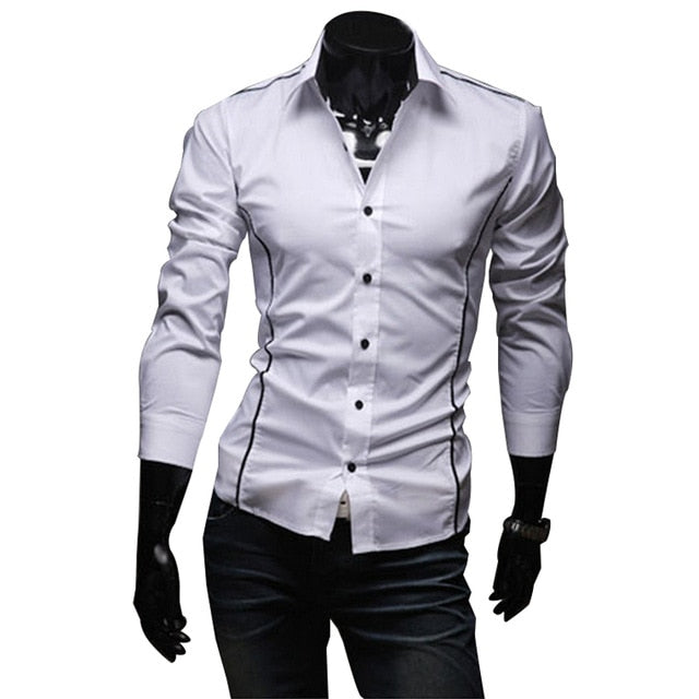 2018 New Mens Casual Shirts Slim Fit Long Sleeve Gray Male Striped Shirts Camisa Social Clothes Chemise Homme Plus Size M-3XL 50-geekbuyig