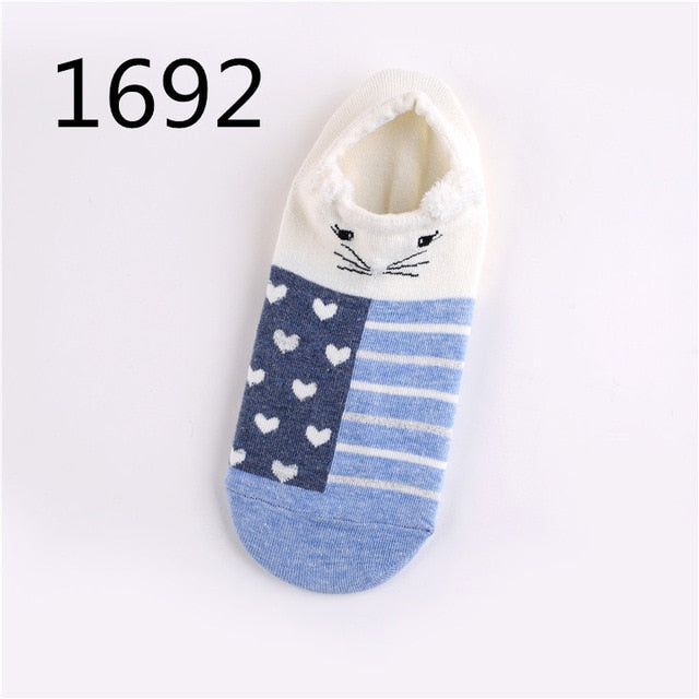 Cute Animal Socks For Women Warm Cotton Ankle Breathable 3D Cotton Woman Socks Funny Animal Lovely Cheap Ankle Female Sock-geekbuyig