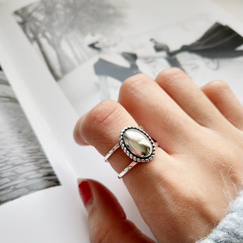 mist surface silver rings 925 sterling silver vintage simple temperament wild rings for women charms fine silver jewelry gift-geekbuyig