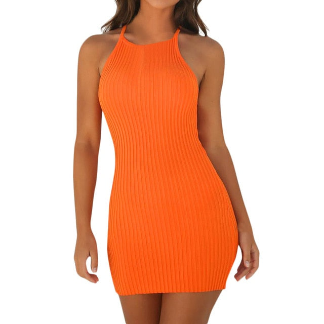 Fashion Women Sexy Backless Basic Dresses Vestidos Bodycon Dress Strap Solid Dress Sling Sleeveless Holiday Party Mini Dress-geekbuyig