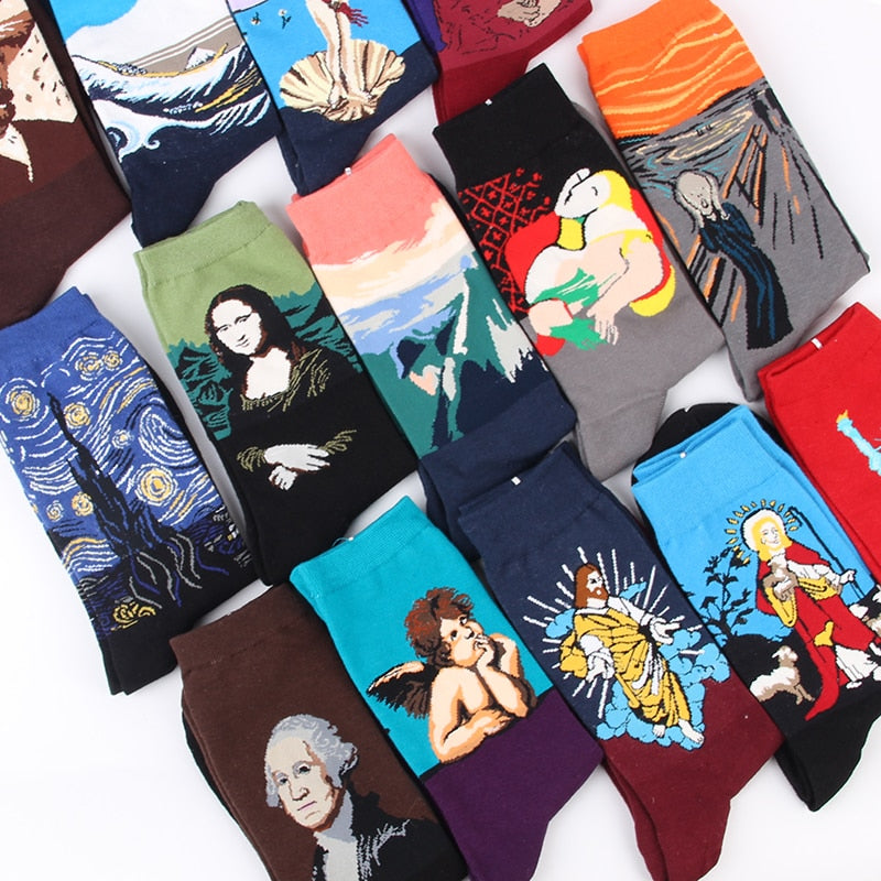 JULY'S SONG Happy Socks Men Funny Art Dress Socks Color Lot Men's Summer Fashion Socks Set Print Van Gogh Art Socks-geekbuyig