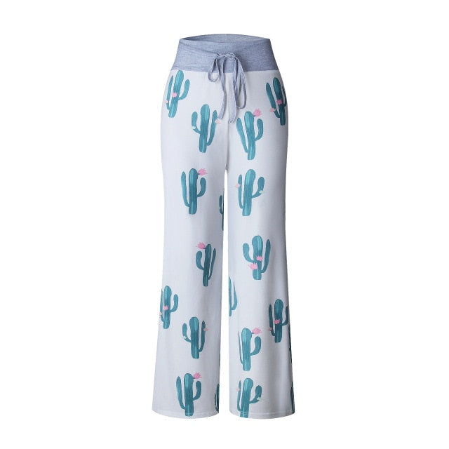 Causal Women Autumn Flower Print Pants 2018 Drawstring Wide Leg Pants Loose Straight Trousers Long Female Plus Size Trousers-geekbuyig