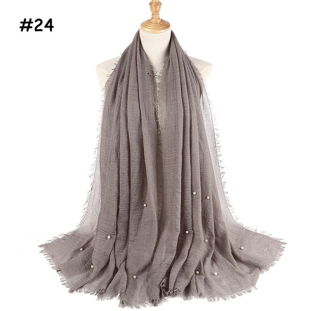 Womens bubble cotton beads wrinkle scarf shawl crumple pearl wrap muslim headband viscose winter scarves 55 color-geekbuyig