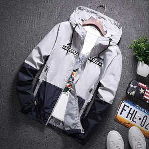 New Spring Autumn Bomber Hooded Jacket Men Casual Slim Patchwork Windbreaker Jacket Male Outwear Zipper Thin Coat Brand Clothing-geekbuyig