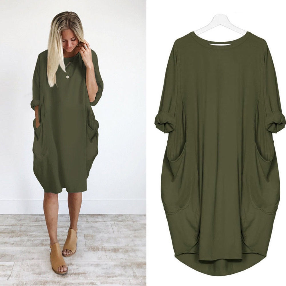2018 hot sale Women Casual Dress Pocket Loose Long Sleeve Irregular Dress Ladies Crew Neck Casual Long Tops Dress Plus Size-geekbuyig