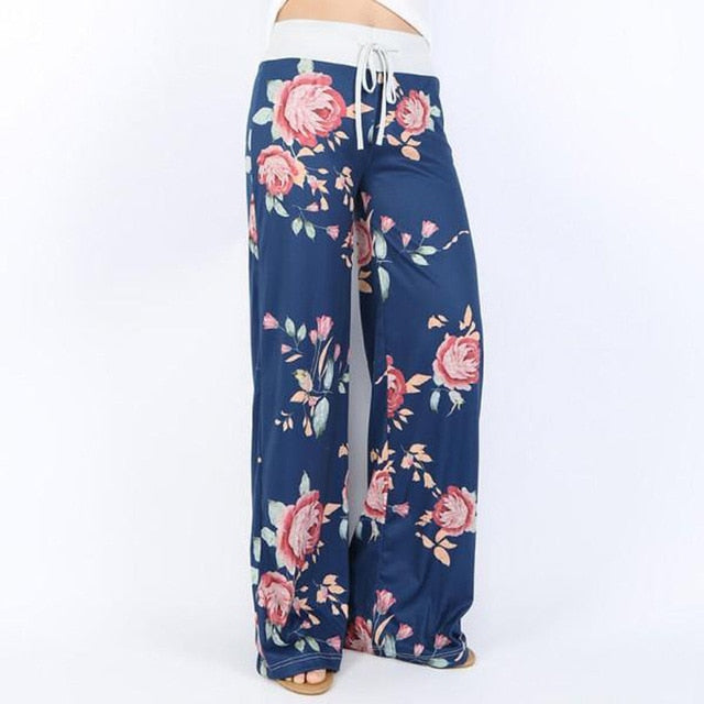 Women Loose Floral Print 2018 Wide Leg Pants Loose Mid Waist Straight Trousers Long Female Trousers Fashion Sweatpants Bottoms-geekbuyig