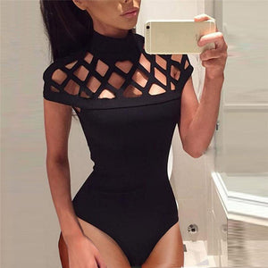 Summer Womens jumpsuit Rompers Choker High Neck Bodycon Caged Sleeves Jumpsuit Bodysuit Tops Catsuit Bodysuit beach swimsuits-geekbuyig