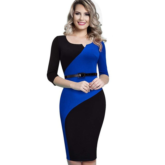 Women Casual Elegant Work Business Office Belted Colorblock Contrasting Fitted Bodycon Pencil Dress EB358-geekbuyig