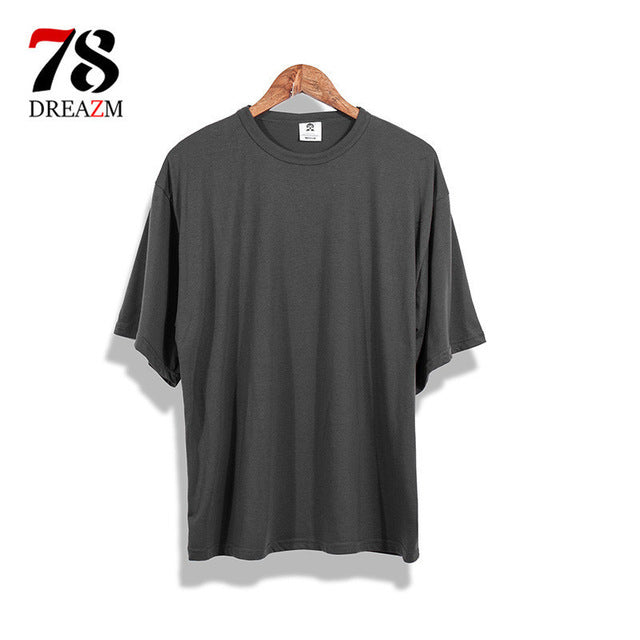 2018 new brand hip-hop solid t-shirt oversize Extended hip hop t shirt Cotton plus size streewear tshirt hiphop Swag-geekbuyig