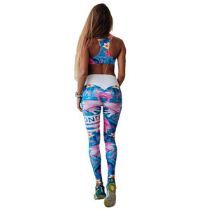 Floral Print Women Fitness Set Female Yuga Suit Tracksuit Workout Sexy Bar and High Waist Slim Push UP Leggings Sporting Clothes-geekbuyig