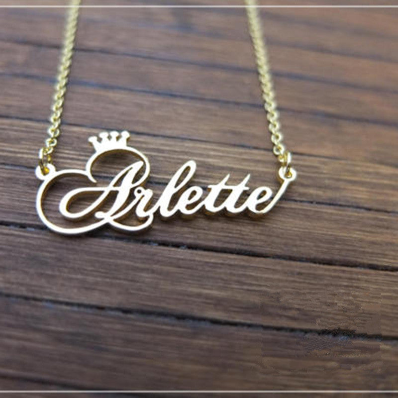 Personalized Name Crown Necklace Handmade Customized Cursive Font Nameplate Pendant Stainless Steel Chain Jewelry Birthday Gifts-geekbuyig