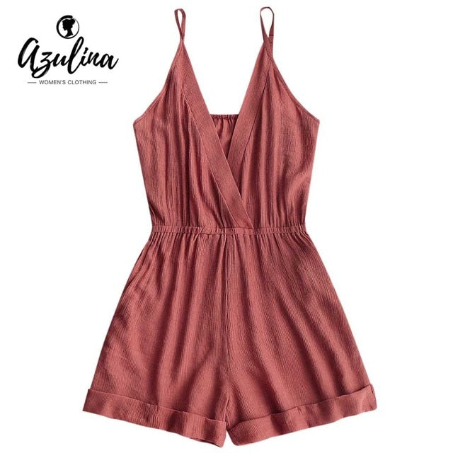 AZULINA Cross Front Rolled Up Hem Romper Women Rompers Solid Jumpsuit Summer Short Overalls Jumpsuit Female Girl Cotton Playsuit-geekbuyig
