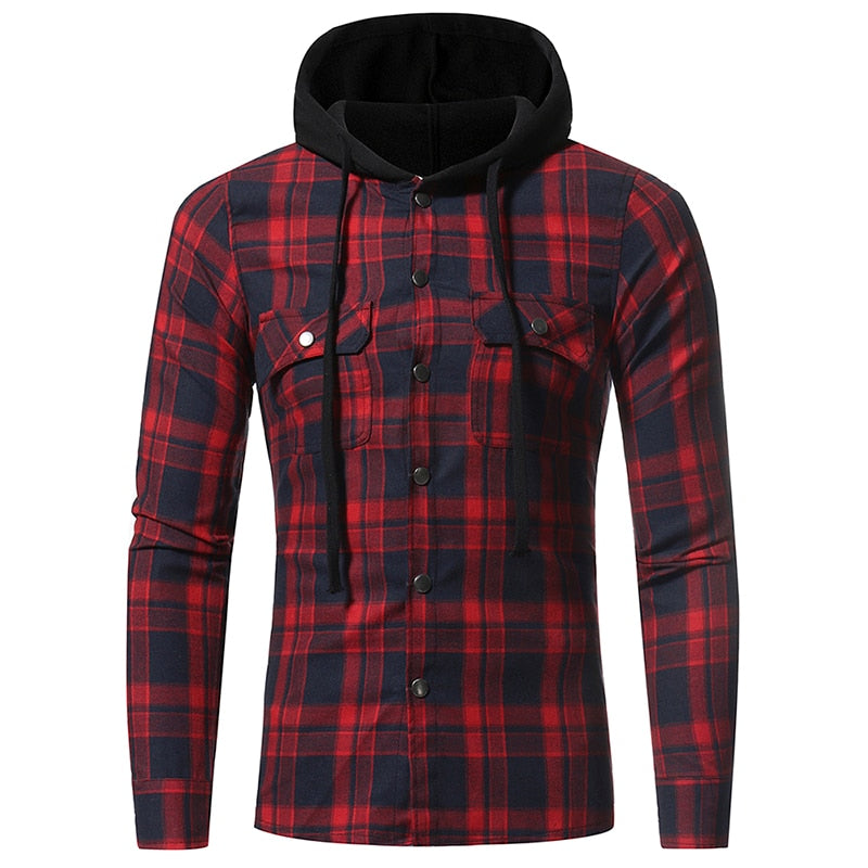 Men Plaid Shirts 2018 New Fashion Korean Wild Long Sleeve Flannel Hooded Shirt Casual Slim Fit Plus Size Cotton Men Clothes Red-geekbuyig