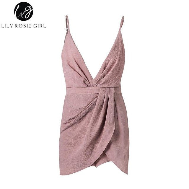 Lily Rosie Girl Sexy V Neck Sleeveless Pink Women Playsuits Backless Short Jumpsuits 2017 Summer Beach Party Overalls Rompers-geekbuyig