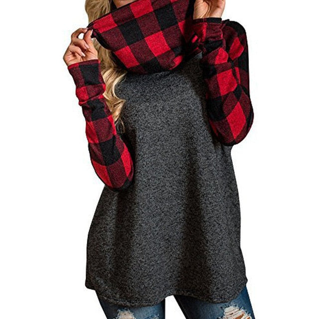 Plus Size ZANZEA 2018 New Autumn Women Hoodies Sweatshirt Fashion High Collared Moletom Feminino Spliced Plaid Collar Top Blusas-geekbuyig