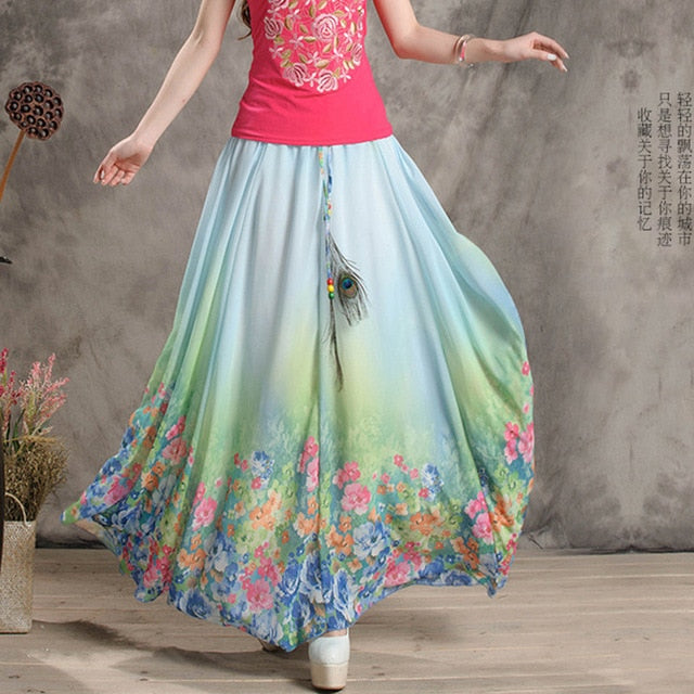 2018 Chiffon Bohemian Skirts Womens Summer Party Harajuku Print Vintage Fashion Flower Ethnic Boho Long Maxi Skirt Beach Clothes-geekbuyig