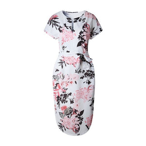 Lossky Women Dress Summer 2018 Boho Beach Sexy Casual Loose Summer Printed Dress V-neck Short Sleeve Midi Dress Plus Size Dress-geekbuyig