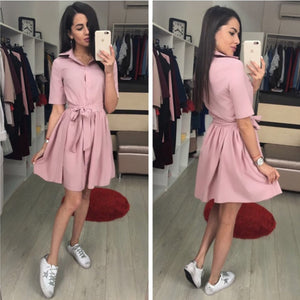 Women Casual Sashes Front Button Sexy Dress Short Sleeve Turn Down Collar A Line Solid Mini Dress 2018 Summer Chic Women Dress-geekbuyig