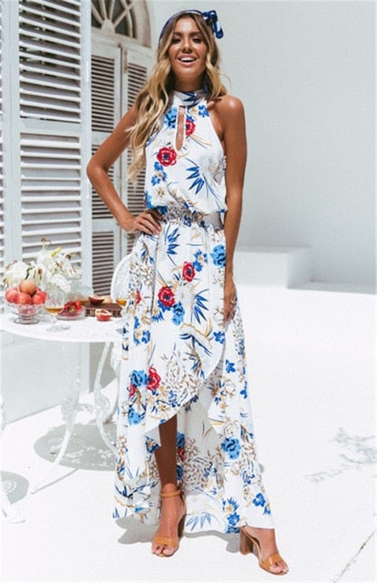 Halter Style Women Casual Loose Dress Floral Printing Sleevelss Ladies BOHO Beach Sundress Lady Maxi Dress-geekbuyig