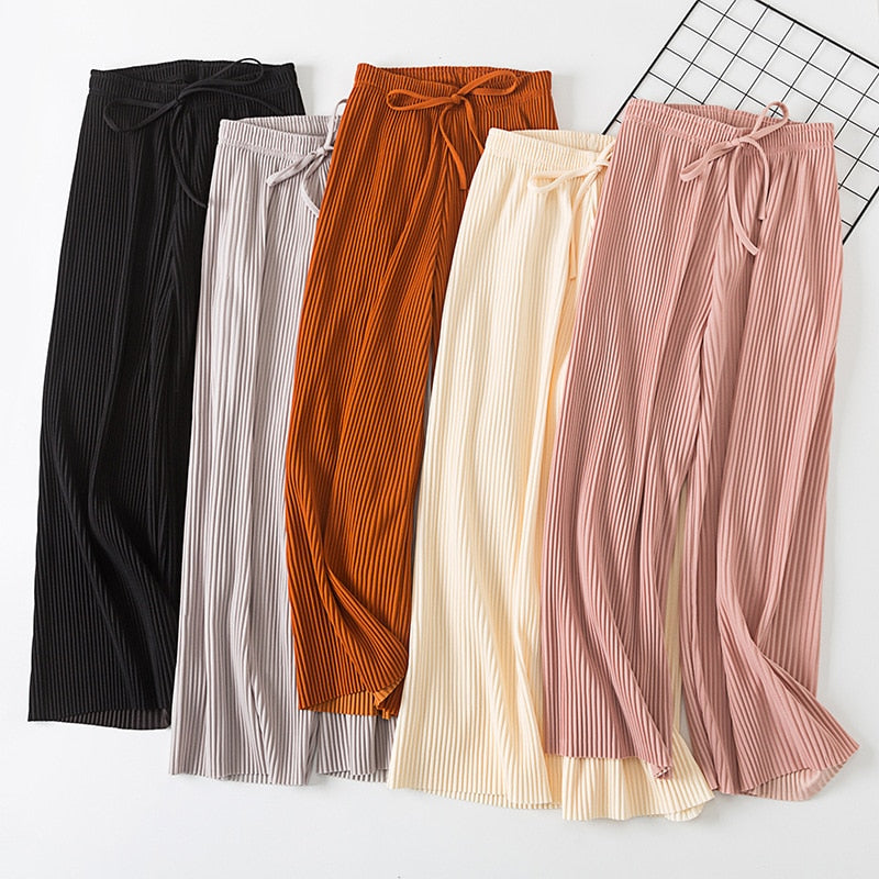 2018 new PANT WOMEN GIRL solid color pleated wide leg female summer high waist chiffon long students Korean fashion casual pants-geekbuyig