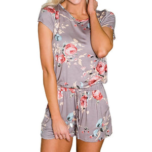 Cute Floral Print Playsuits 2018 New Kawaii Women Jumpsuits Shorts Femme Sexy Back Knot Short Sleeve Summer Beach Overalls GV826-geekbuyig