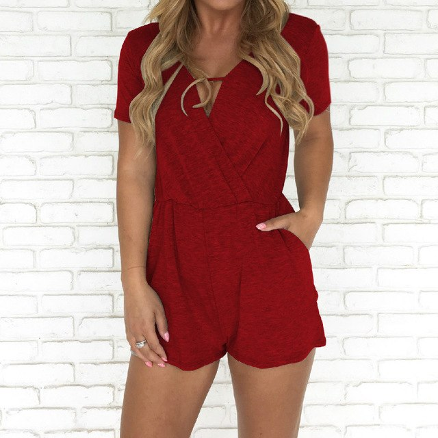 Short Sleeve V Neck Solid Casual Playsuits 2018 New Summer Women Jumpsuits Shorts Femme Pockets Sexy Rompers Plus Size GV776-geekbuyig