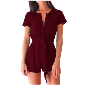 2018 New Slim Sexy Bandage Jumpsuits Rompers Women V-collar Short Sleeve Bodysuit Bodycon Female Overalls Playsuit Tops Lyk4-geekbuyig