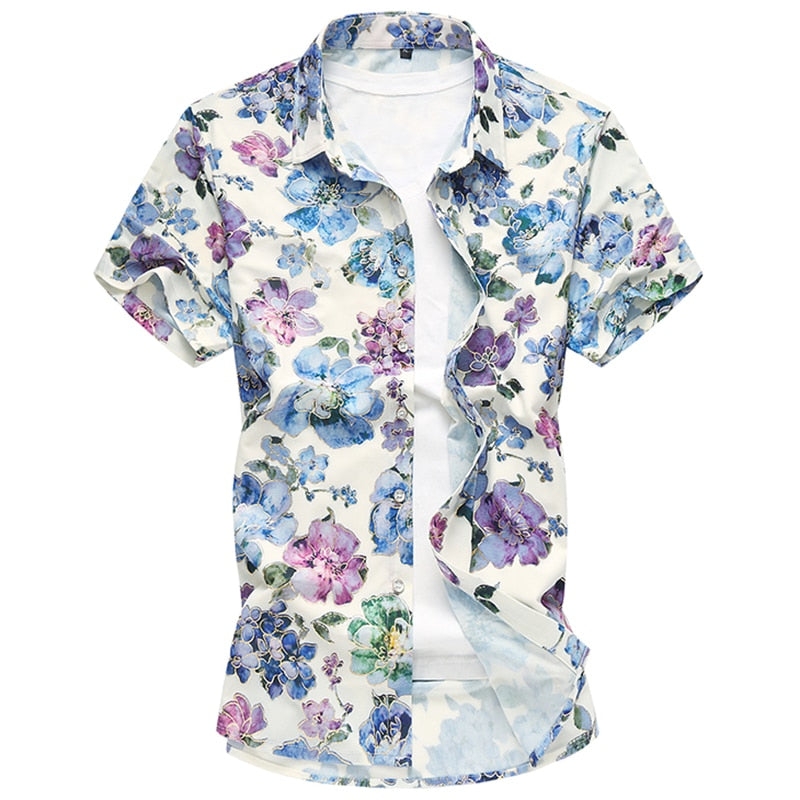 Plus 7XL 2018 New Floral Print Hawaiian Casual Shirt Brand Clothing Short Sleeve Men Shirt Fashion Camisa Social Slim Masculina-geekbuyig