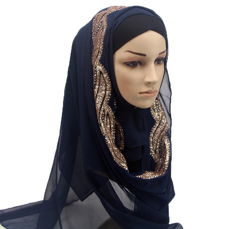 1 pc Female solid color shinny Sequins GLITTER chiffon silk popular shawls muffler headband hijab summer muslim scarves/scarf-geekbuyig