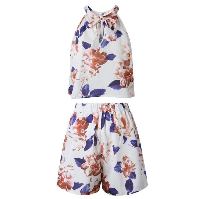Very nice Sexy Floral Print Playsuit Women 2018 New Fashion Halter 2 Pieces Tops and Shorts Boho Style Summer Jumpsuits Overalls-geekbuyig