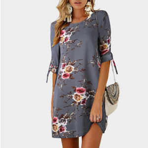 2018 Summer Dress The Shoulder Half Sleeves Loose Dress O-Neck Printing Soft Dress S-5XL Big Size Dress-geekbuyig