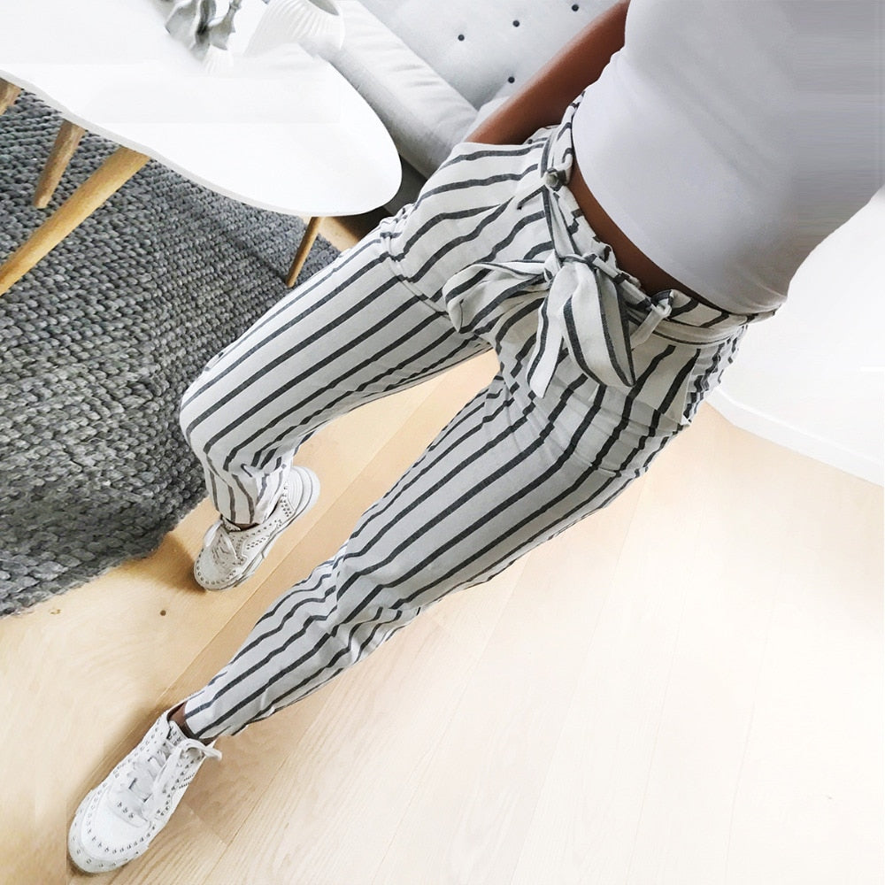 new 2018 fashion women casual mid waist pants white striped bow tie drawstring sweet elastic waist pockets casual trousers-geekbuyig